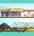 railway station and bridge horizontal banners vector image vector image