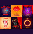 realistic circus cards set vector image vector image