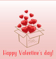 red hearts flying from gift box vector image vector image