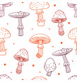 seamless pattern of mushrooms toadstools with vector image vector image