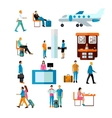 set of people in airport isolated on white vector image vector image
