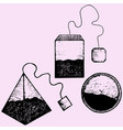 set teabag with label vector image vector image