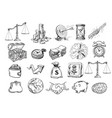 sketch of business set vector image vector image
