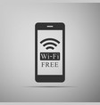 smartphone with free wi-fi wireless connection vector image