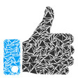 thumb up collage of triangles vector image