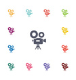 video camera flat icons set vector image vector image