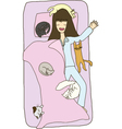a girl sleeping with many cats on her bed vector image
