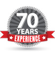 70 years experience retro label with red ribbon vector image vector image