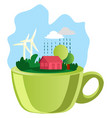 a green cup and nature on top on white background vector image