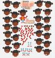 black girl twenty eight expressions and basics vector image
