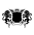 black sign with lions and a shield vector image vector image