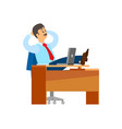 boss worker of company having break at workplace vector image
