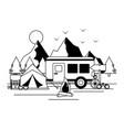 camper trailer tent camping wanderlust image vector image