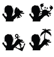 child set silhouette with icon vector image vector image