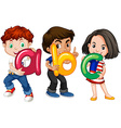 Children holding English alphabets vector image vector image