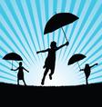 children with umbrella in nature vector image vector image