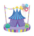 cute circus tent with balloons helium vector image vector image