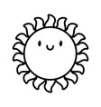 cute kawaii sun summer cartoon character thick vector image vector image
