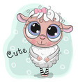 cute sheep girl on a blue background vector image vector image