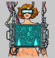 cyberpunk female robot wearing virtual reality vector image