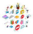 debriefing icons set isometric style vector image vector image