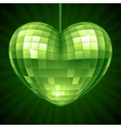 Disco Heart Green mirror disco ball vector image vector image