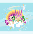 fairytale frame with castle and unicorns vector image vector image