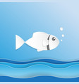 fish on ocean wave paper art style vector image