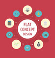 flat icons bar diagram billfold bank and other vector image vector image