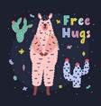 free hugs card with a cute llama with hand drawn vector image