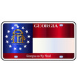 georgia license plate flag vector image vector image
