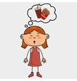 girl pizza food speak vector image