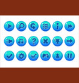 glossy blue buttons for all kinds of casual vector image