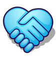 handshake symbol forming a blue heart isolated on vector image