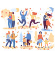 happy people in autumn romantic loved couples vector image vector image