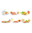 healthy breakfast dishes set classical menu with vector image vector image