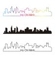 Ho Chi Minh skyline linear style with rainbow vector image
