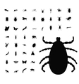 Insect silhouette collection vector