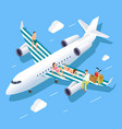 isometric flight to summer concept vector image