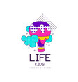 kids life logo design bright label for kids club vector image