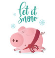 let it snow banner cute pig in winter scarf vector image vector image