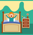 little girl wake up on bed in the morning vector image vector image