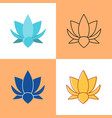 lotus flower icon set in flat and line styles vector image