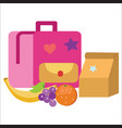 lunch time poster pupil schoolbag lunchbox banana vector image vector image