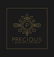 luxurious letter p logo with classic line art vector image vector image