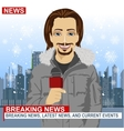 Male journalist working in winter in front of city vector image vector image