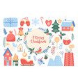 merry christmas greeting card with circle wreath vector image