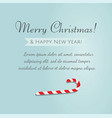 merry christmas greetings and candy cane vector image vector image