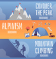 mountain climbing and alpinism horizontal banners vector image