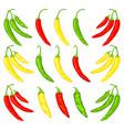 multicolor cartoon hot chilli pepper set vector image